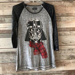 Star Wars baseball style tee gray black Christmas